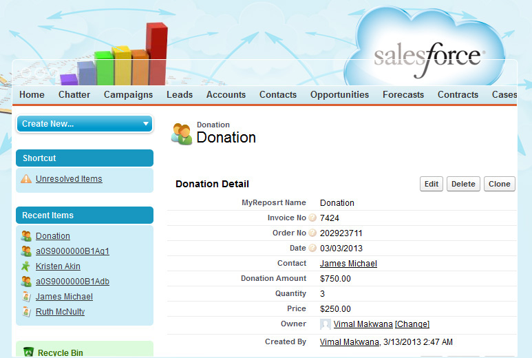 Sales and Donation Tracking through Salesforce